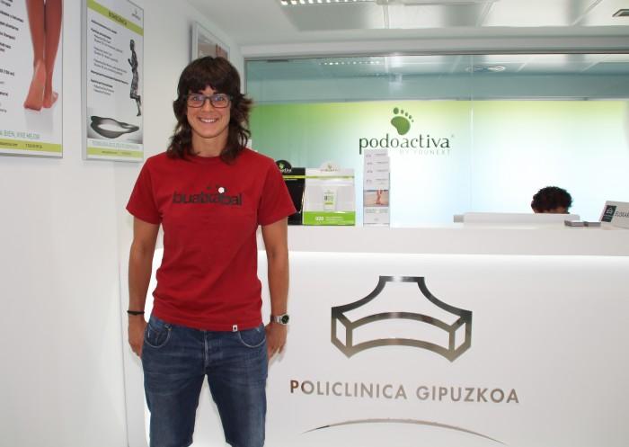 Ane Bergara, jugadora del equipo femenino de la Real Sociedad, en la Unidad del Pie