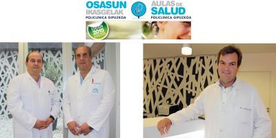 De izquierda a derecha los Dres. José Luis Elósegui y Javier Murgoitio, Dr. Juan Ignacio Arenas, especialista en aparato digestivo