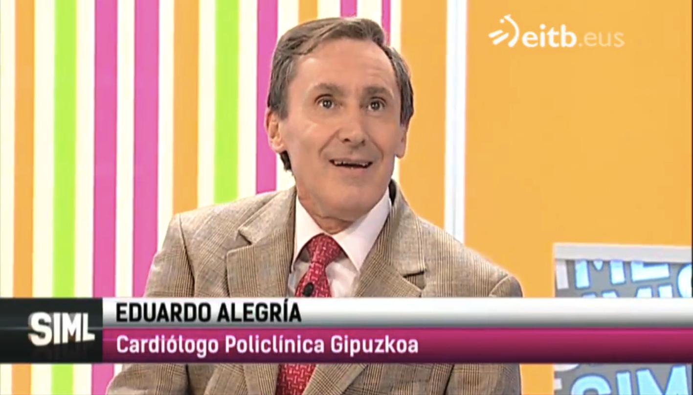 """El cardiólogo, Eduardo Alegría, acudió este pasado jueves por la tarde al programa """"Sin ir más lejos"""", que presenta, Klaudio Landa en ETB2."""