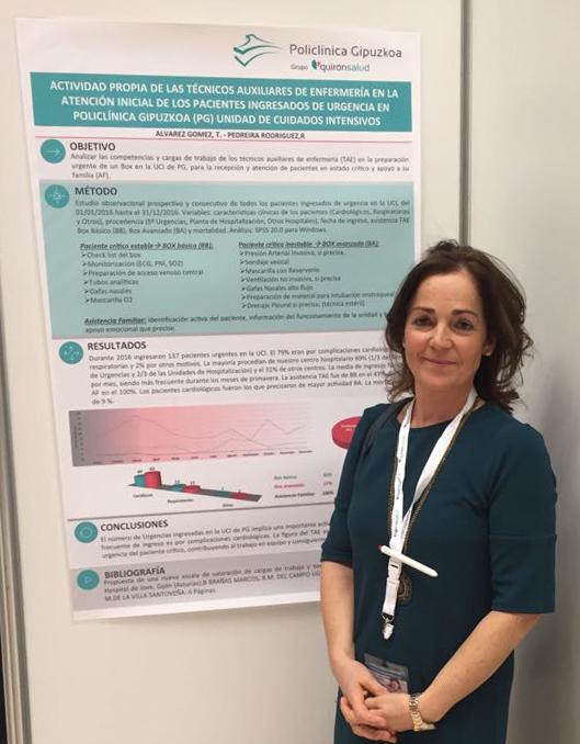 Txini Álvarez, auxiliar de enfermería de Policlínica Gipuzkoa, presentó un póster
