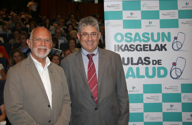 Los traumatólogos de Policlínica Gipuzkoa, Juan Carlos Camborda y Ricardo Cuéllar en el Aula de Salud sobre cadera.