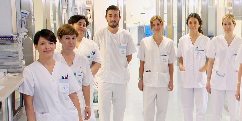 Personal de enfermería de la UCI de Policlínica Gipuzkoa
