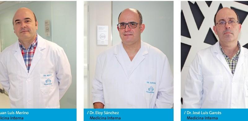 Los especialistas en Medicina Inter¬na Juan Luis Merino, Eloy Sánchez y José Luis Garcés, de Policlínica Gipuzkoa