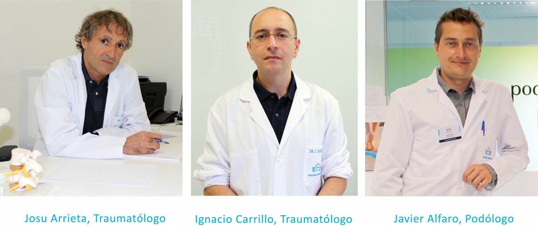 Los traumatólogos Josu Arrieta, Ignacio Carrillo y el podólogo Javier Alfaro