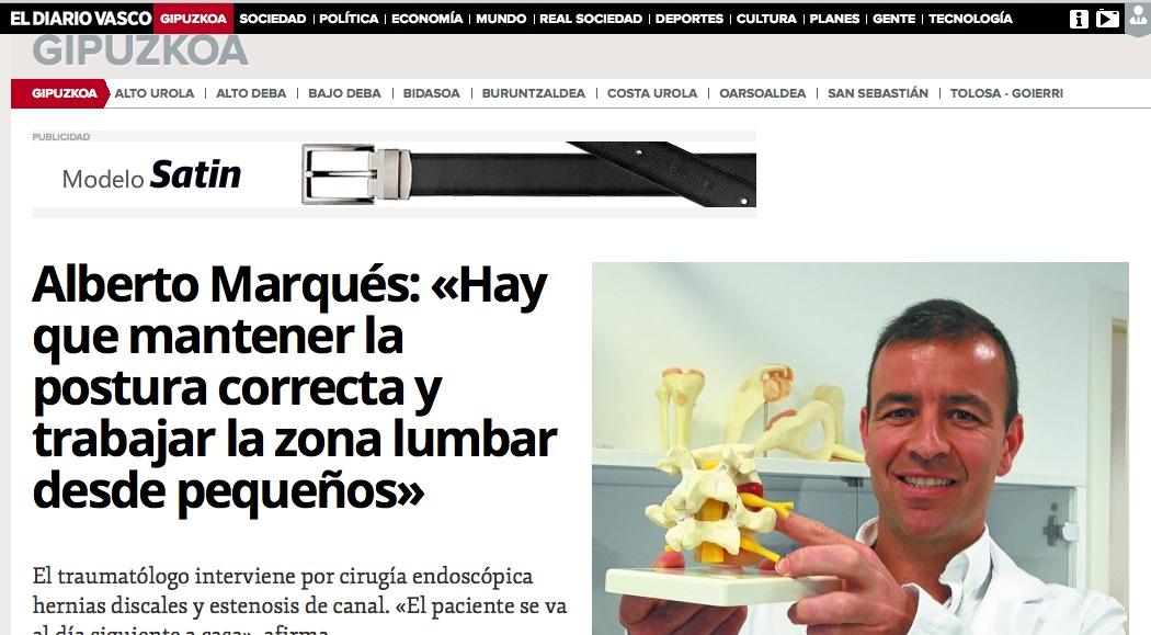 Alberto Marqués, traumatólogo y especialista en cirugía de columna