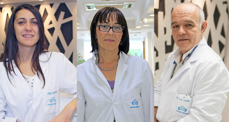 Los ginecólogos de la Unidad de la Muejr de Policlínica Gipuzkoa: Carmen Tauste, Edurne Uzcudun y Toño Lara