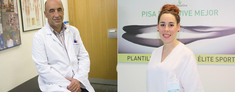 Enrique Pérez de Ayala, jefe del Servicio de Medicina Deportiva de Policlínica Gipuzkoa, y Leire Arejita, podóloga de Policlínica Gipuzkoa y Podoactiva.