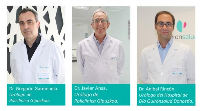 Dres. Gregorio Garmendia y Javier Ansa, urólogos de Policlínica Gipuzkoa, y Anibal Rincón, urólogo del Hospital de Día Quirónsalud Donostia