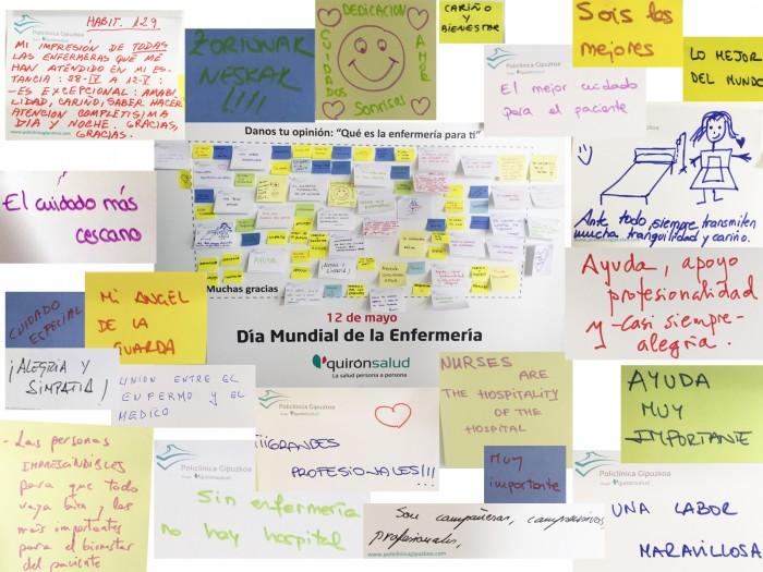Algunos de los mensajes que han dejado a las enfermeras para conmemorar el Día Mundial