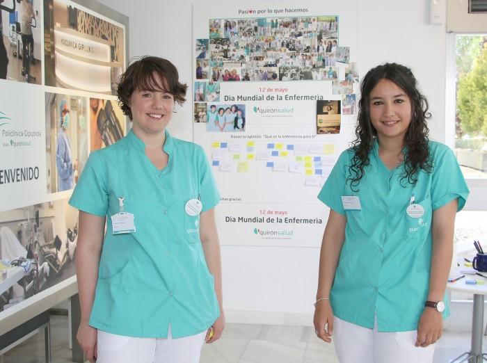 Las enfermeras Aldara San Pedro y Estibaliz Miguen han animado al profesional sanitario, pacientes y familiares, para que dejen mensajes a sus enfermeras.